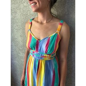 VINTAGE | watercolor striped maxi sundress